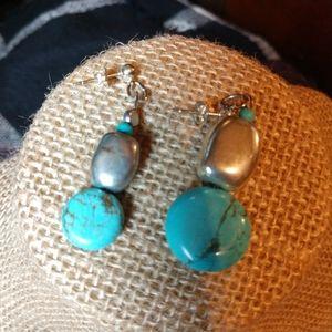 Turquoise assymetric dangle earrings silver OOAK